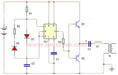 Inversor 12VDC a 120/240VAC con 555. Circuito muy útil para disponer de un voltaje AC en lugares donde sólo fuentes de voltaje DC como baterías de auto