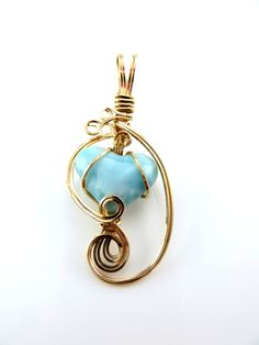 Carribean blue Larimar Heart Pendant, 14 K gold fill wire wrapped by LindysLane on Etsy