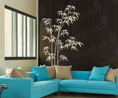 "80"" tall Large Bamboo Tree Removable Vinyl Wall Decals Sticker Wall Art Home Decor With a Crane Bird Decal. $38.95, via Etsy."