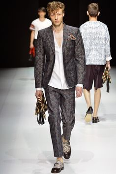 Andrea Pompilio Men's RTW Spring 2014 print suit & shoes