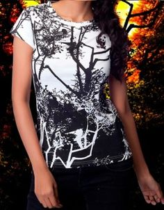 Forest Trees T-Shirt gives you an edge over others.An exquisite T-shirt collection.Look trendy casual and stylish in this short sleeved T-shirt for ladies.