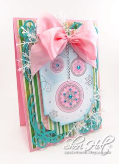 JustRite Friday Challenge #125 pink and turquoise holiday card using JustRite Ornament Cling Background with Spellbinders Labels Thirty-Eight & 5 x 7 Mystical Embrace by Sheri Holt