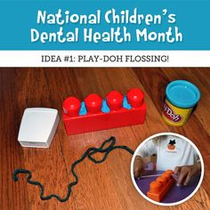#DentistinMesa This is a creative way to teach your children about flossing by putting Play-Doh in between Mega Bloks. Have your child use a piece of yarn to get it out!