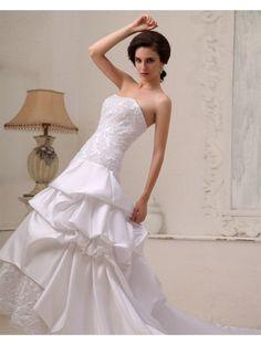 A-line Strapless Sleeveless Elastic Woven Satin White Cheap Wedding Dresses With Lace #Athena196 - Wedding Dresses