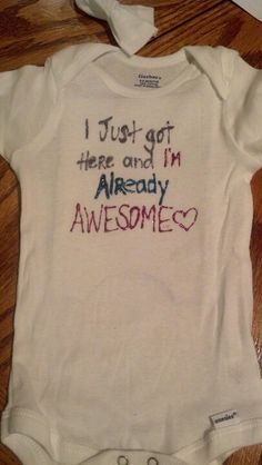 For my baby niece! Puffy paint baby onsie.