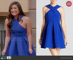 Tina's blue cross neck dress on Glee.  Outfit Details: http://wornontv.net/47069/ #Glee