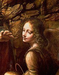 Detalhe do anjo de A Virgem das Rochas de Leonardo Da Vinci