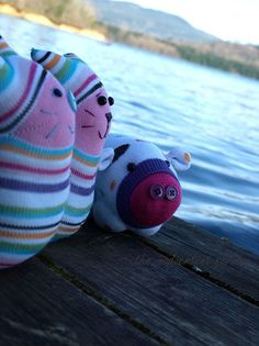 Sock bunny, cat and pig - So very cute.  From the inadvertent farmer.