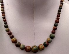 adjustable Picasso Jasper necklace.chunky statement necklace. Earth tone beaded, gemstone necklace,18 - 20 3/4 inch necklace