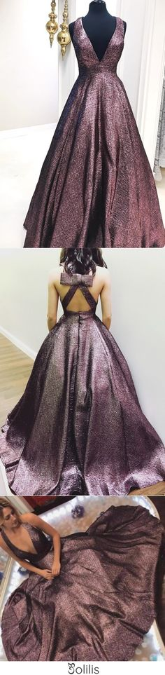 Elegant Deep V Neck Chocolate Brown Long Ball Gown Prom Dresses with Pockets JS842, This dress could be custom made, there are no extra cost to do custom size and color