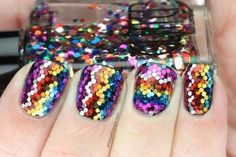 Polish All the Nails: Rainbow Glitter Zigzags! Nails Only, Get Nails, Fancy Nails, Love Nails, How To Do Nails, Pretty Nails, Hair And Nails, Nailart, Nail Polish Designs