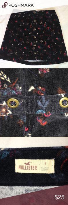 Hollister floral skirt Hollister floral skirt with buttons. Soft velvety material. Hollister Skirts Mini