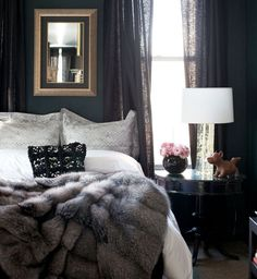 Dark walls, light linens & a faux fur throw make for an incredibly cozy bedroom. - Home decor and design Bedroom Apartment, Bedroom Decor, Apartment Therapy, Bedroom Colors, Bedroom Lighting, Bedroom Ideas, Dark Walls, Dark Interiors, Suites