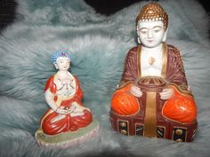 2 LOT Vintage OLD ANTIQUE PORCELAIN TAI BUDDHA Hand Painted SEATED Chinese RARE