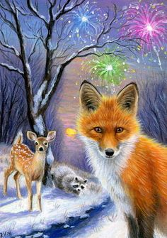 ACEO original fox raccoon deer New Year firework wildlife landscape painting art | Art, Paintings | eBay!