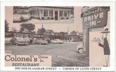 SE Flint MI Classic 1950s Saginaw and Leith St Colonels Drive In Restaurant 24 Hour Dining Room and Curb Service