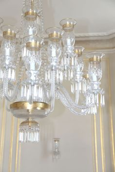 Very Large Delicately Gilded Saint Louis Crystal Chandelier with itu0027s Six Matching Sconces . French XXth Century. The eighteen lights are shaped as candle ... & Very Large Delicately Gilded Saint Louis Crystal Chandelier with ... azcodes.com