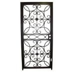 Grisham 36 in. x 80 in. 467 Series Black Prehung Universal Hinging Outswing Wrought Iron Security Door with Double Bore Lockbox 46799 at The Home Depot - Mobile