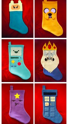 Finn, Jake, TMO, Ice King, queen and TARDIS stockings