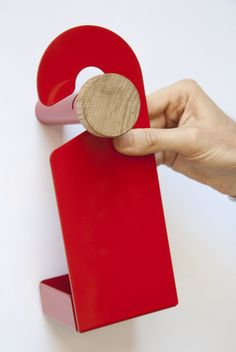 """A wall hanger set reminiscent of hotel """"Do Not Disturb"""" signs that add additional functionality. Spa Furniture, Furniture Projects, Furniture Design, Plywood Furniture, Modern Furniture, Door Signage, Plastic Industry, Shop Fittings, Futuristic Furniture"""