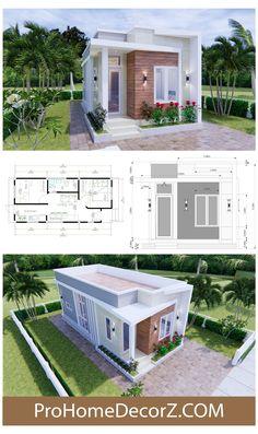 Minimal House Design, Modern Small House Design, Simple House Design, Small Modern Home, Tiny House Design, Simple Bungalow House Designs, 2 Bedroom House Design, Design Bathroom, Design Kitchen