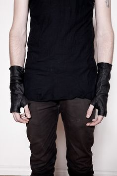 Mens Black Washed Leather Fingerless Gloves. $90.00, via Etsy.