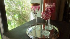 Three Antique Saint Louis Cranberry Crystal Glasses/ France/ Stemware/ Bar ware/ Entertaining/ Cocktail Party/ Wedding Gift by StyleJunkieAntiques on Etsy
