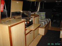 Custom bed and storage in a van sweet ride for surf for Campervan furniture plans