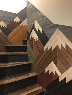 garten treppe Mountain Mosaic on Staircase Mountain Mosaic on Staircase You are in the right place about tile Stairs Here we offer you the most beautiful pictures about Home Renovation, Basement Renovations, Escalier Art, Future House, My House, My New Room, Wood Art, My Dream Home, Home Projects
