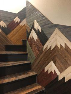 Mountain Mosaic on Staircase