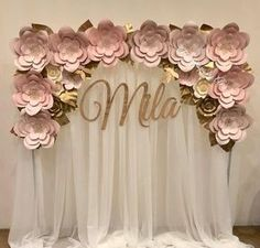 Flower Arch Backdrop in Blush colors Thank you and Congratulations Flower Arch Backdrop in Blush colors Thank you and Congratulations Unique paper flowers can be used for unique wedding decorations, . Party Decoration, Baby Shower Decorations, Flower Decorations, Wedding Decorations, Backdrop Wedding, Paper Flower Wall, Giant Paper Flowers, Quinceanera Decorations, Quinceanera Party