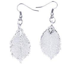 Real Leaf Hook Drop EARRINGS ROSE Genuine LEAF in Sterling Silver