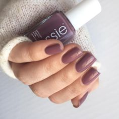 this rich plum mauve essie lacquer 'island hopping' creates a lovely laid-back manicure look that takes you anywhere you want to go.