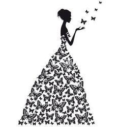 on VectorStock® Silhouette Silhouette Portrait, Silhouette Art, Silhouette Projects, Woman Silhouette, Dress Silhouette, Digi Stamps, Paper Cutting, Vector Art, Paper Art