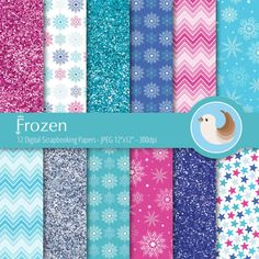 Bright and fun! Inspired by one of our most favorite animated movies of all time - Frozen! This set Frozen inspired digital papers will be perfect