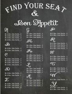 Chalkboard / bon appetit Wedding Seating by PleasebeSeatedDesign, $100.00