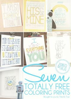 Seven Totally Free Coloring Prints : Just print and color as you wish!