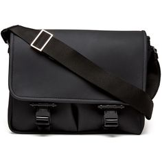 Givenchy Rubber Buckled Flap Messenger Bag ($1,540) ❤ liked on Polyvore featuring bags, messenger bags, black, courier bag, givenchy, rubber bag, buckle messenger bag and shoulder strap bag