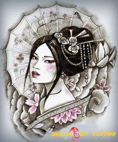 Image result for samurai and geisha drawing