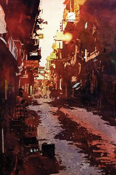 Walk Down the Street Kathmandu (watercolor on paper, 22x15) by Ryan Fox | up-and-coming artists