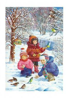 View album on Yandex. Painting Snow, Fruit Painting, Painting For Kids, Drawing For Kids, Art For Kids, Winter Christmas Scenes, Winter Scenes, Christmas Card Crafts, Christmas Art