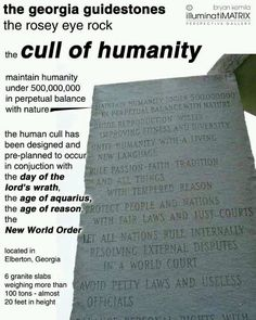 Georgia guidestones - A horrific message of depopulation, right here on American soil!