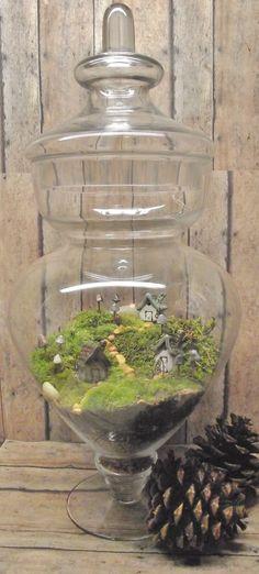 Miniature Landscape, Live Moss Terrarium with tiny raku fired ceramic houses and mushrooms- Handmade by Gypsy Raku. $80.00, via Etsy.