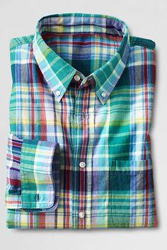 660899cbadef Men s Long Sleeve Dark Violet Madras Shirt (Lands  End)