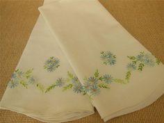 Vintage HAND STITCHED Blue Floral EMBROIDERY Cotton PILLOWCASE Pr. Unique Stitch