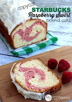 Copycat Starbucks Raspberry Swirl Pound Cake Love it?  Pin it to SAVE it! Follow Spend With Pennies on Pinterest for more great recipes! We love the Raspberry Swirl Pound Cake at Starbucks and now we can enjoy it at home!! To make it extra quick and easy, this recipe starts with a boxed mix.  If you have a favorite pound cake recipe, by all means, use that and just add the raspberry spread in as directed below! Print Copycat Starbucks Raspberry  {Read More}