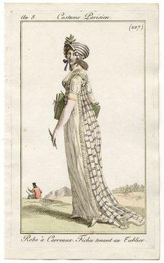 Journal des Dames et des Modes, Fabulous gown fabric, fabulous bonnet! 1800s Fashion, Victorian Fashion, Vintage Fashion, Regency Dress, Regency Era, Historical Costume, Historical Clothing, Jane Austen, Jean Délavé