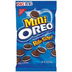 Oreo Mini Chocolate Bite Size Sandwich Cookies, 3-Ounce Bags ❤ liked on Polyvore featuring food, food and drink, food & drink, filler and snacks