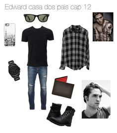 """Edward casa dos pais cap 12"" by raianabela2014 ❤ liked on Polyvore featuring Nudie Jeans Co., Timberland, Michael Kors, Casetify, Ray-Ban, men's fashion and menswear"