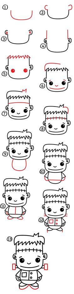What's Halloween with out a how to draw Frankenstein? Simple step by step for kids, even download and print the steps for free! Students can make Frankenstein bookmarks! (scheduled via http://www.tailwindapp.com?utm_source=pinterest&utm_medium=twpin&utm_content=post111900469&utm_campaign=scheduler_attribution)